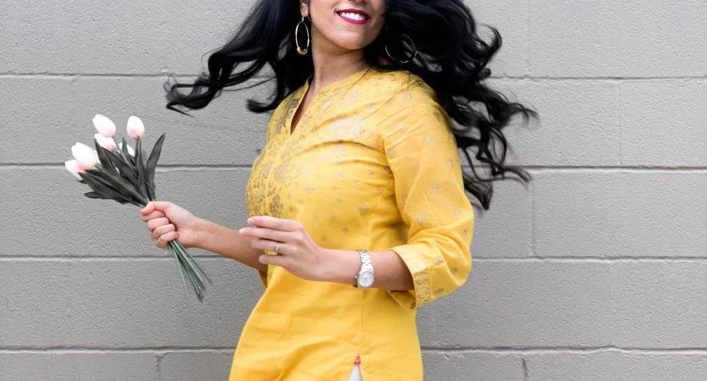 Petite styling a long yellow kurti