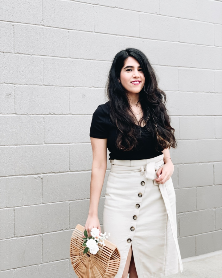 Beige linen skirt for summer