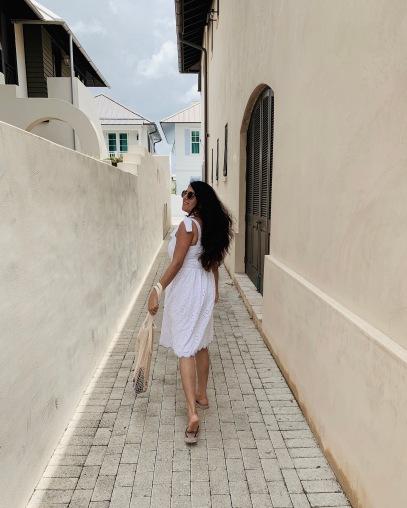 Petite in White Midi Dress