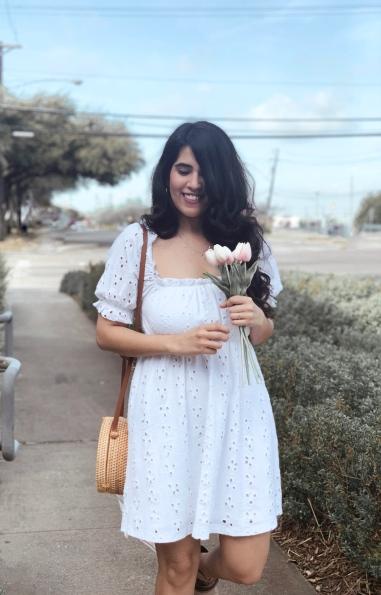 Short white eyelet dress for summer